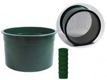 "6"" Green Mini Stackable Sifting Pans: 10 Holes per Sq. Inch"