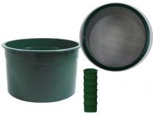 "6"" Green Mini Stackable Sifting Pans: 20 Holes per Sq. Inch"