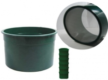 "6"" Green Mini Stackable Sifting Pans: 40 Holes per Sq. Inch"