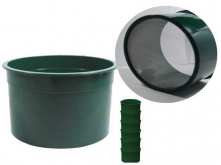 "6"" Green Mini Stackable Sifting Pans: 60 Holes per Sq. Inch"